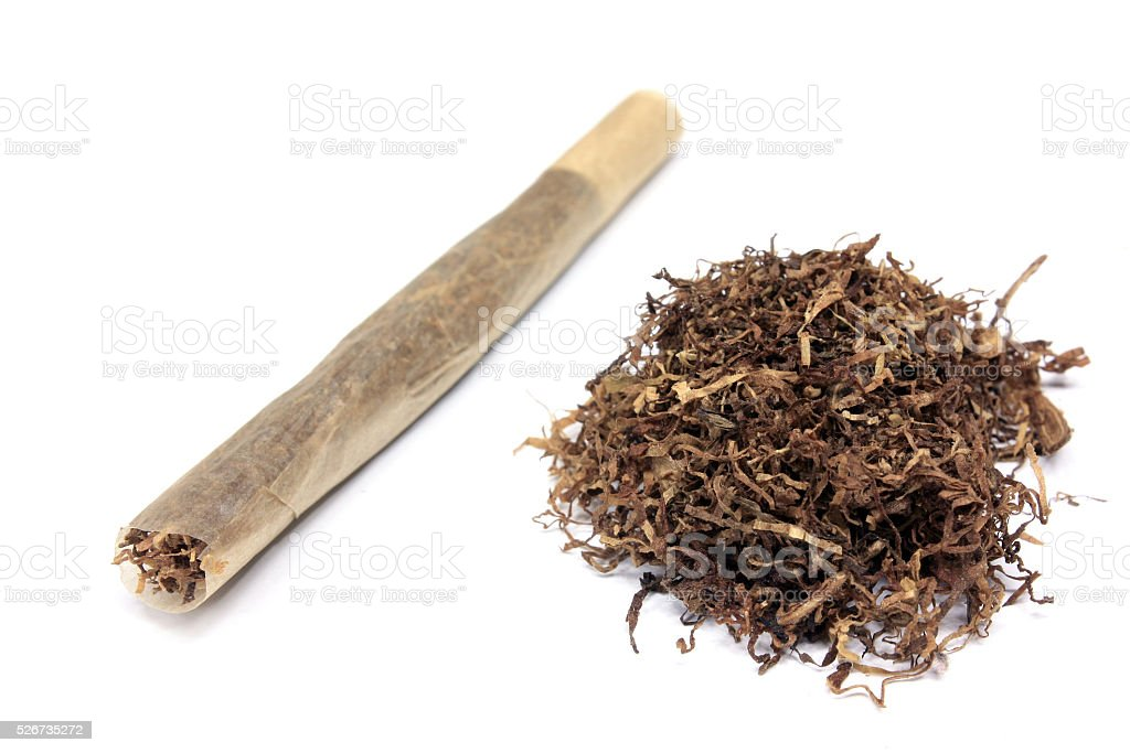 Handmade cigarette and tobacco stock photo
