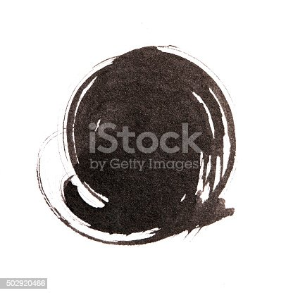 istock Handmade  circle drawing ink black brush sketch on isolated whit 502920466