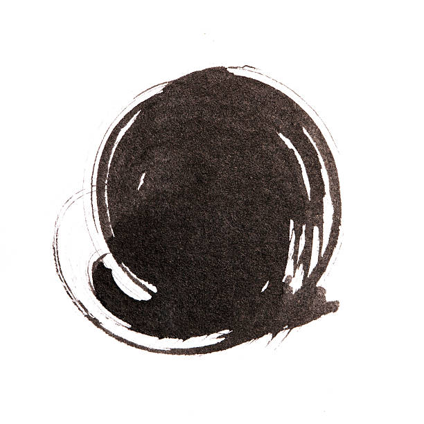 handmade  circle drawing ink black brush sketch on isolated whit - japanese culture stock pictures, royalty-free photos & images