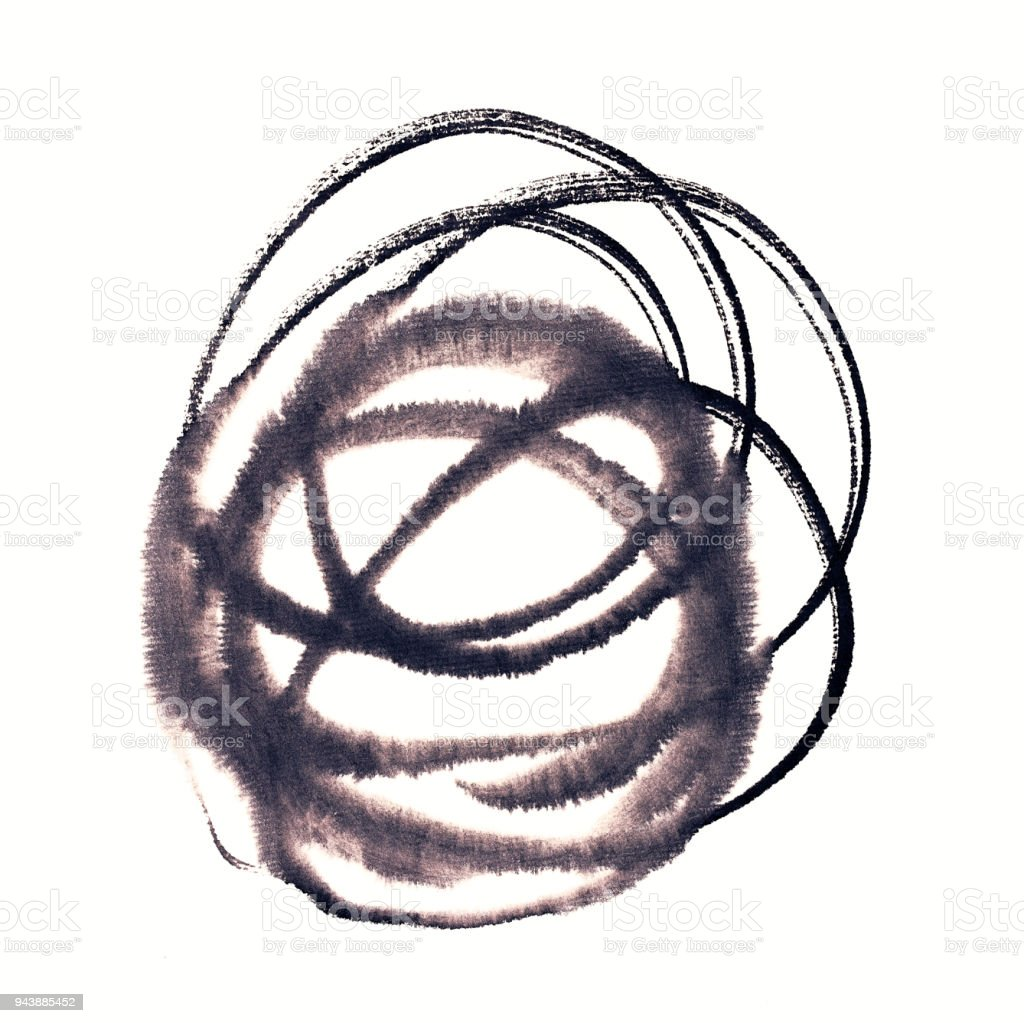 Handmade circle drawing ink black brush sketch on isolated white stock photo