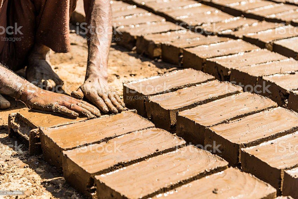 Handmade clay bricks in India stock photo