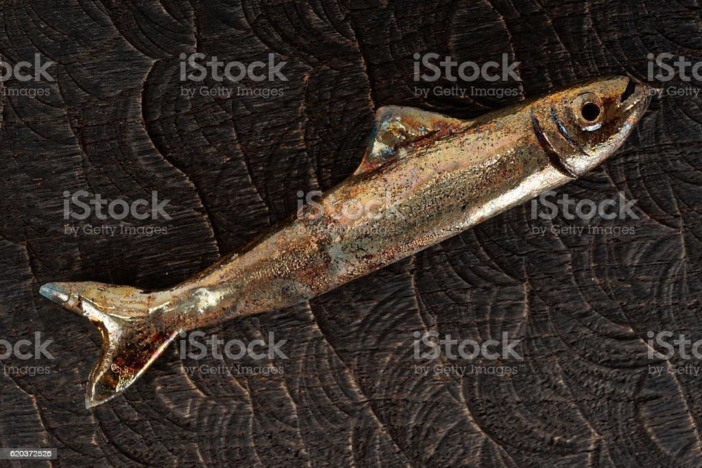 Handmade clay fish on wood zbiór zdjęć royalty-free