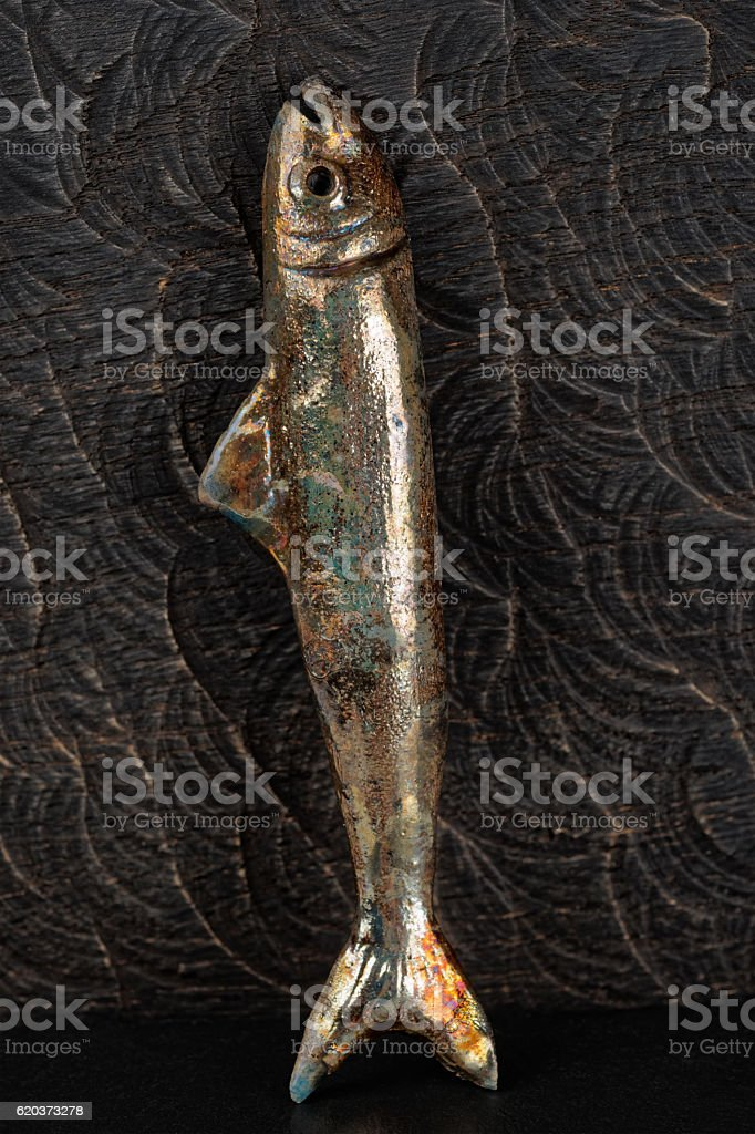 Handmade clay fish on wood foto de stock royalty-free
