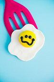 istock Handmade clay fried egg with distraught expression 851426568