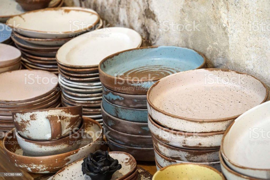 Handgemachte Farbe Keramik Porzellan Geschirr Teller Geschirr Tassen Essstabchen Set Stockfoto Und Mehr Bilder Von Blau Istock