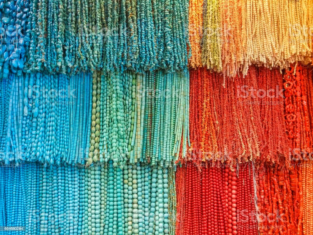Handmade colored jewelry in a Egyptian shop stock photo