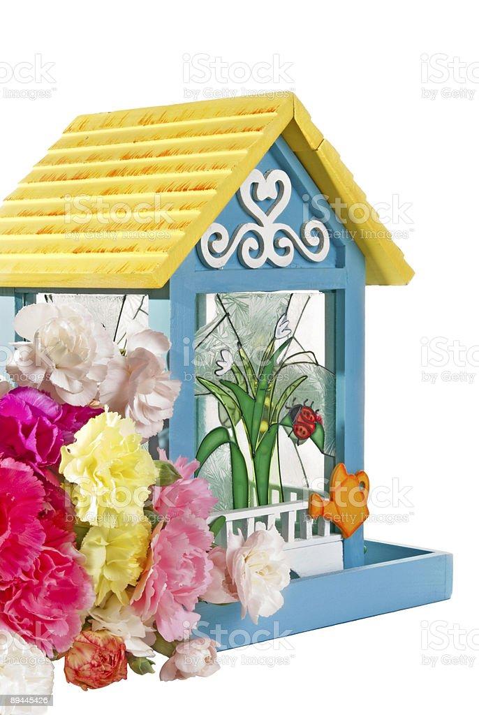 Main coloré de Mangeoire à oiseaux avec Oeillet giroflée fleurs, isolé blanc photo libre de droits