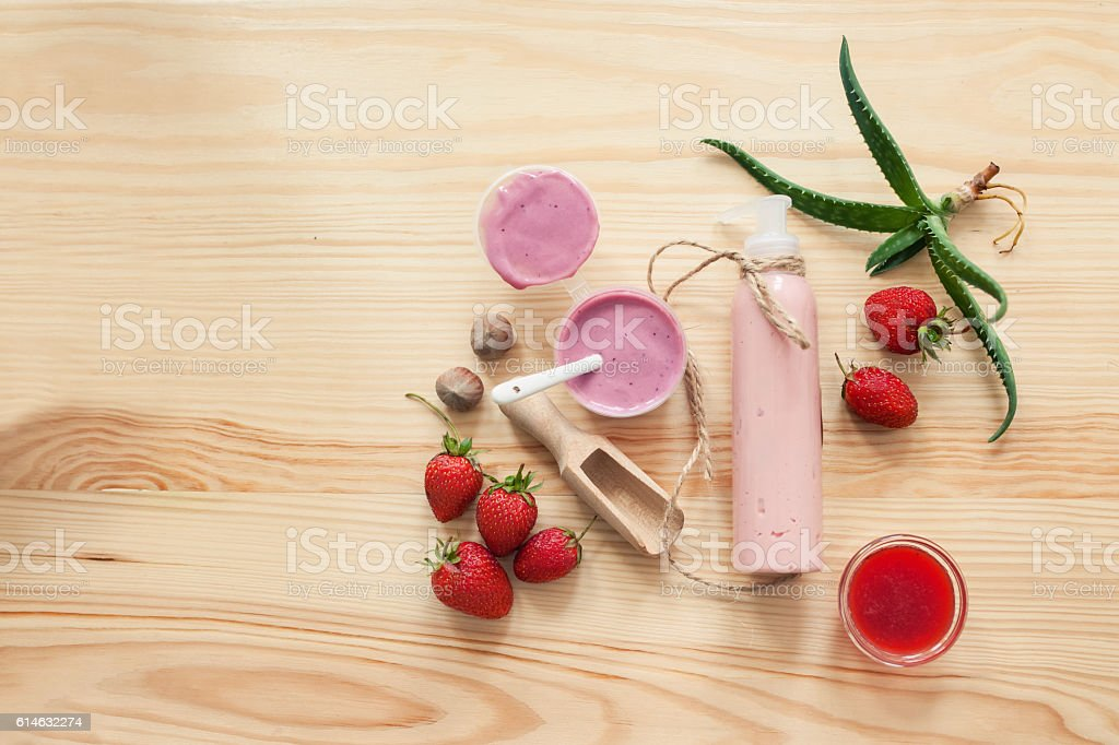handmade cosmetics set with creme and ingredients, stock photo
