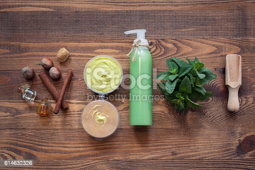 istock handmade cosmetics set with hazelnut and mint; 614632326