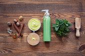 handmade cosmetics set with hazelnut and mint;