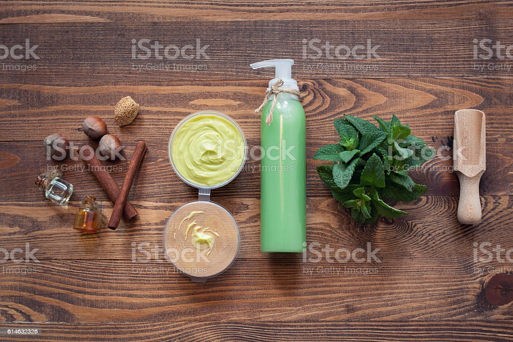 handmade cosmetics set with hazelnut and mint; stock photo
