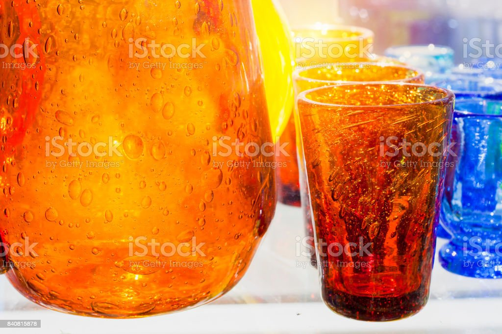 Handmade crafted colorful glass stock photo