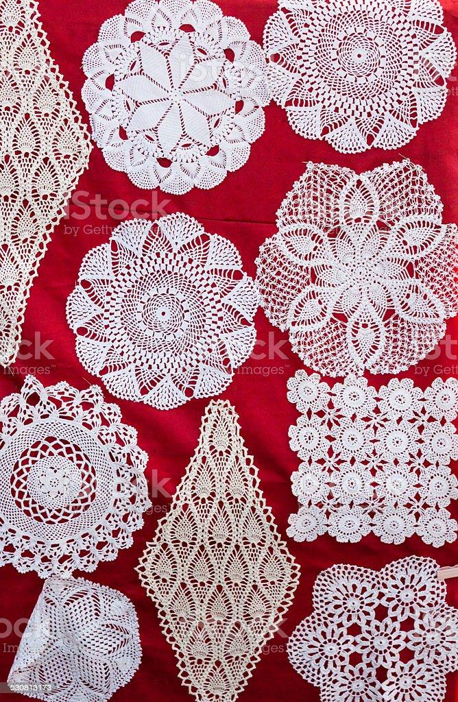 Handmade crochet decorative pieces stock photo