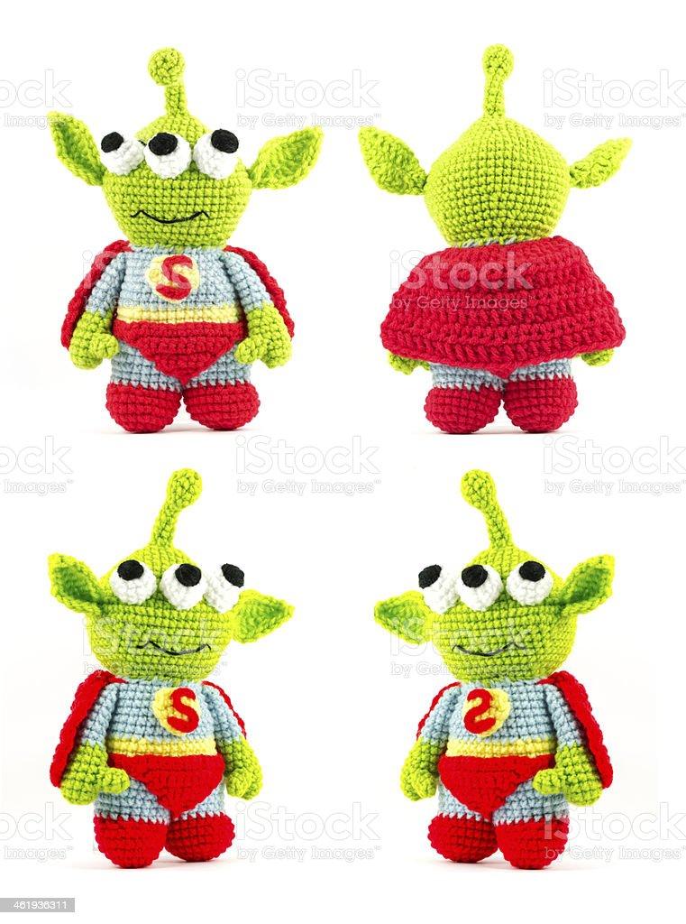 Manualidad Crochet Verde Alien Tres Ojos Super Héroe Doll ...