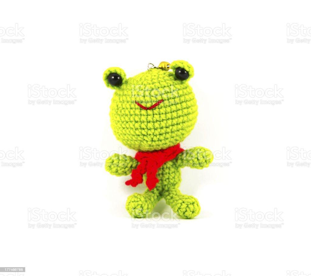 Fotografía de Manualidad Marioneta De Crochet Rana Verde Sobre Fondo ...