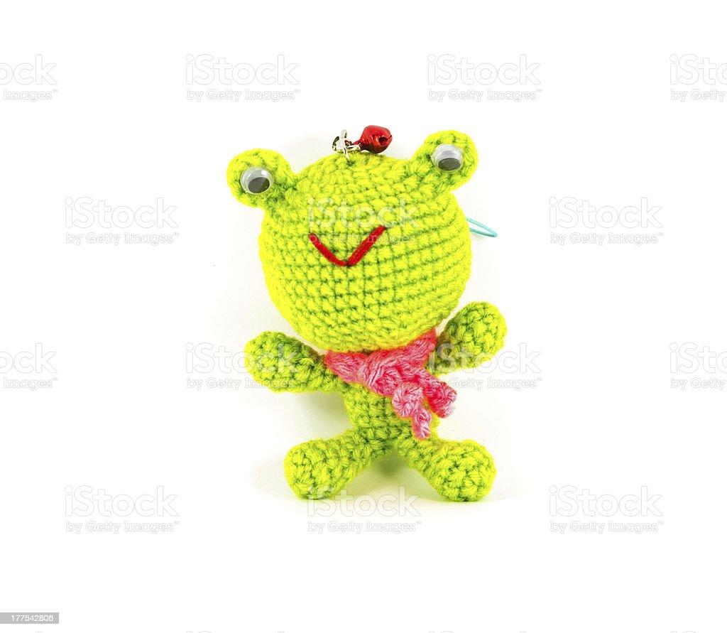 Manualidad Marioneta De Crochet Rana Verde Sobre Fondo Blanco ...