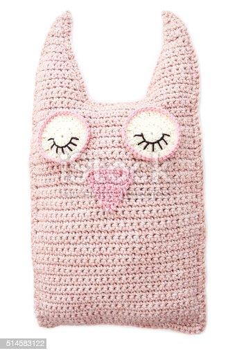 Handmade Crochet Pink Toy Owl Isolated On White.