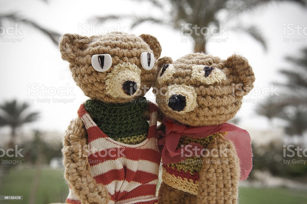 Handmade crochet toy bears royalty-free stock photo