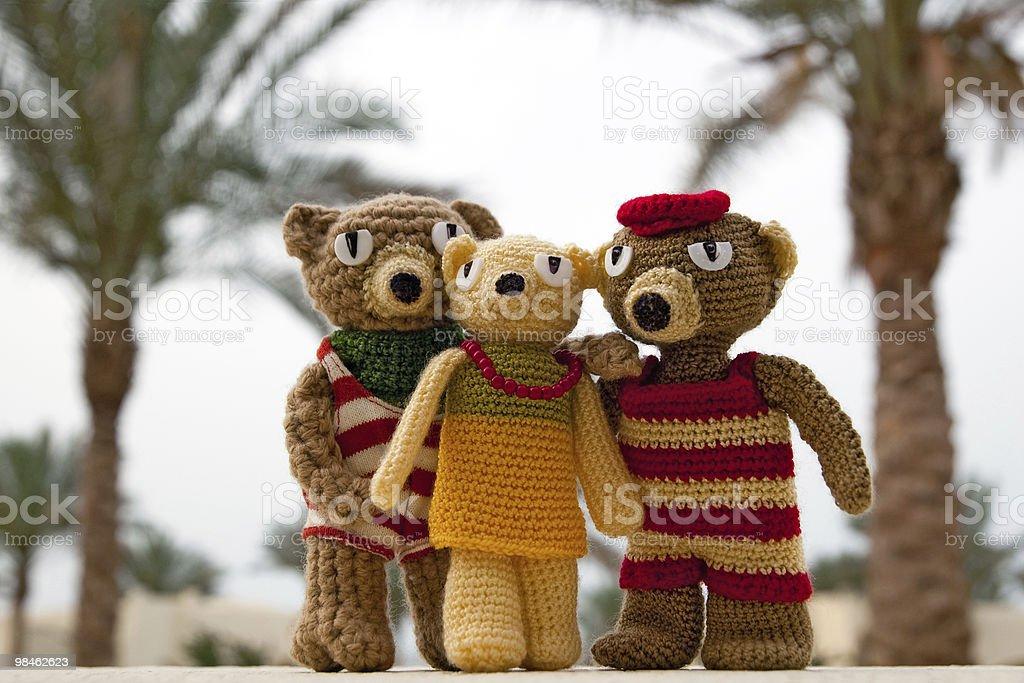 Handmade crochet toy bears royalty-free stock photo