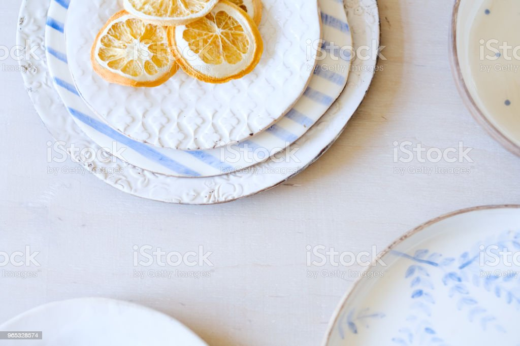 handmade crockery background clay plates design royalty-free stock photo