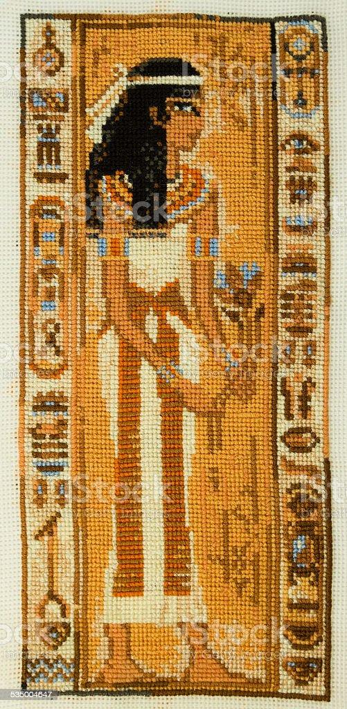 Handmade Crossstitch Ancient Egyptian Priestess Stock Photo