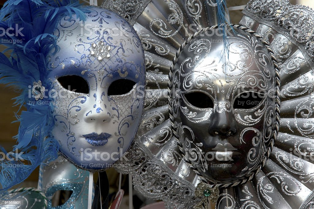 Hand-made decorated silver and blue Venetian masks (XXL) royalty-free stock photo