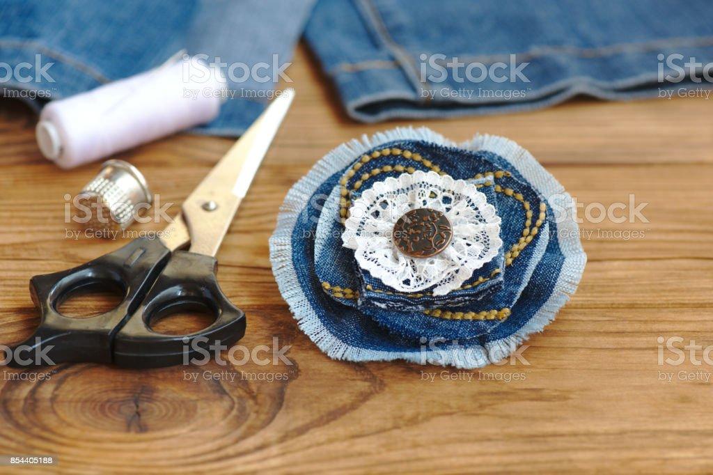 Handmade Denim Flower Jewellery Scissors Thread Thimble