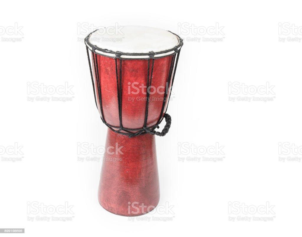 Handmade Djembe drum on the white background stock photo