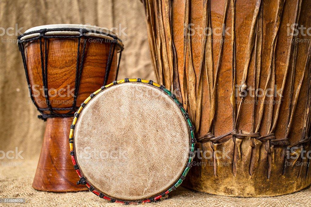 handmade djembe drums stock photo