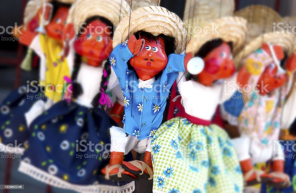 Handmade dolls at market stock photo