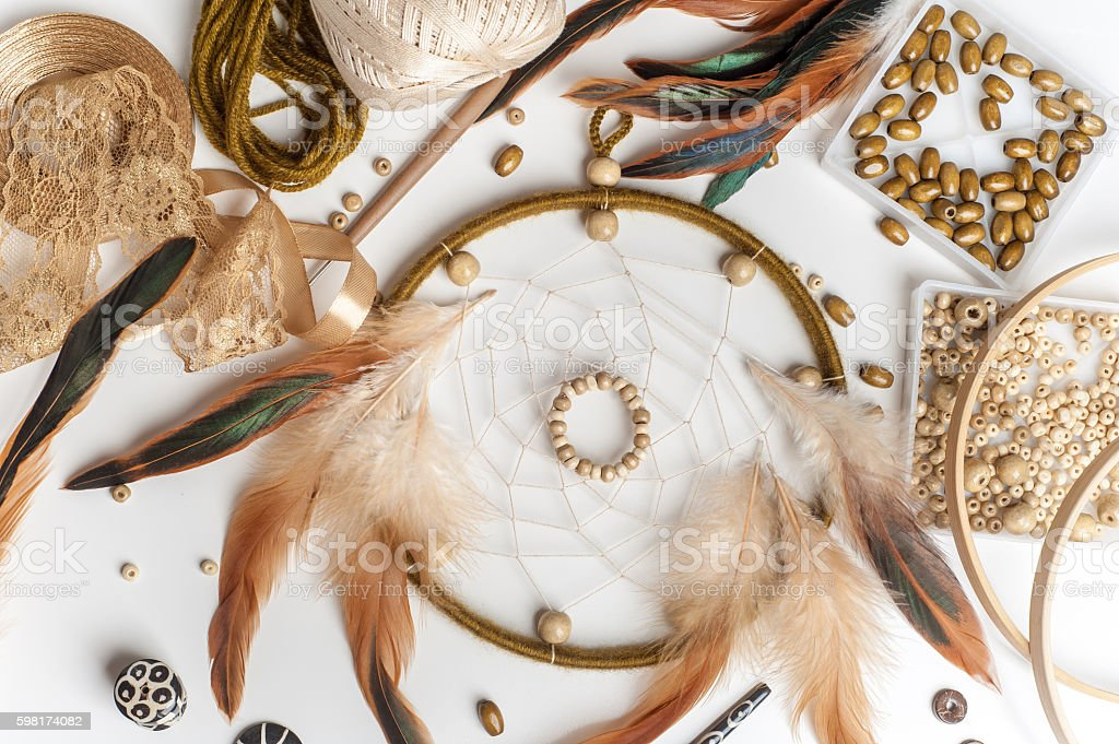 Handmade dream catcher with feathers - Photo