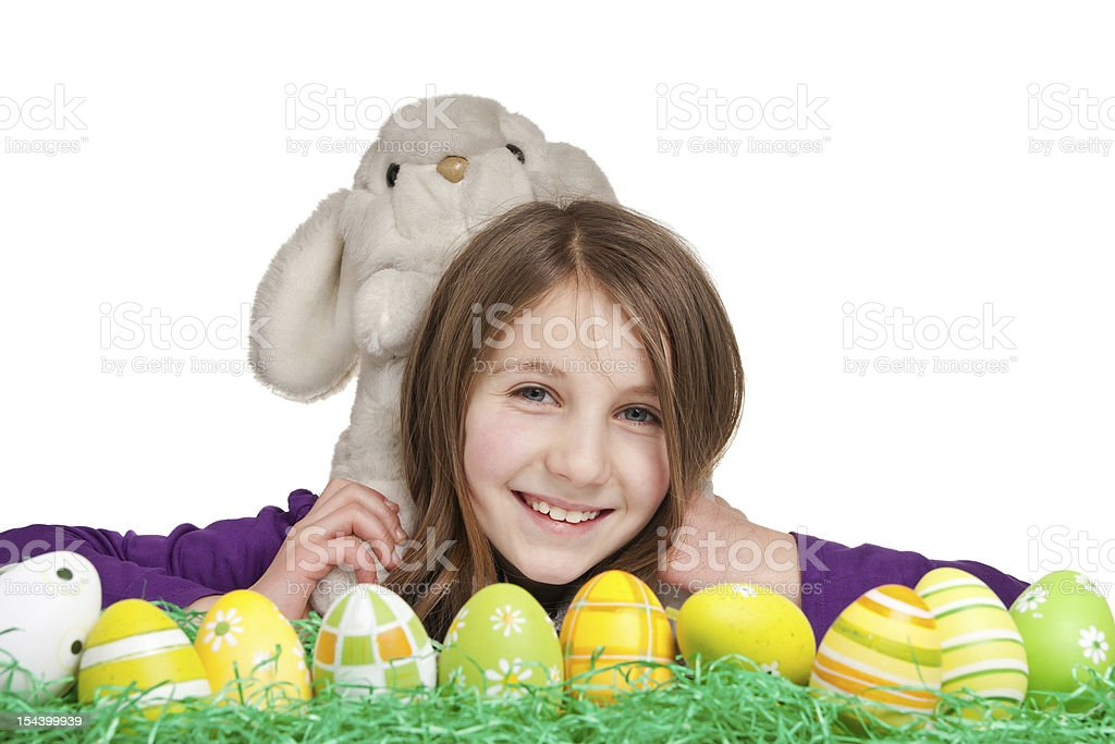 handmade easter rabbit and a 9 years old girl royalty-free stock photo