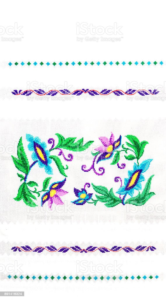 Handmade embroidery, folk arts and crafts stock photo