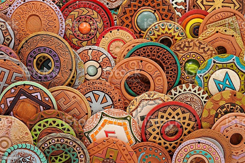 Handmade Ethnic Clay Beaded Jewelry stock photo