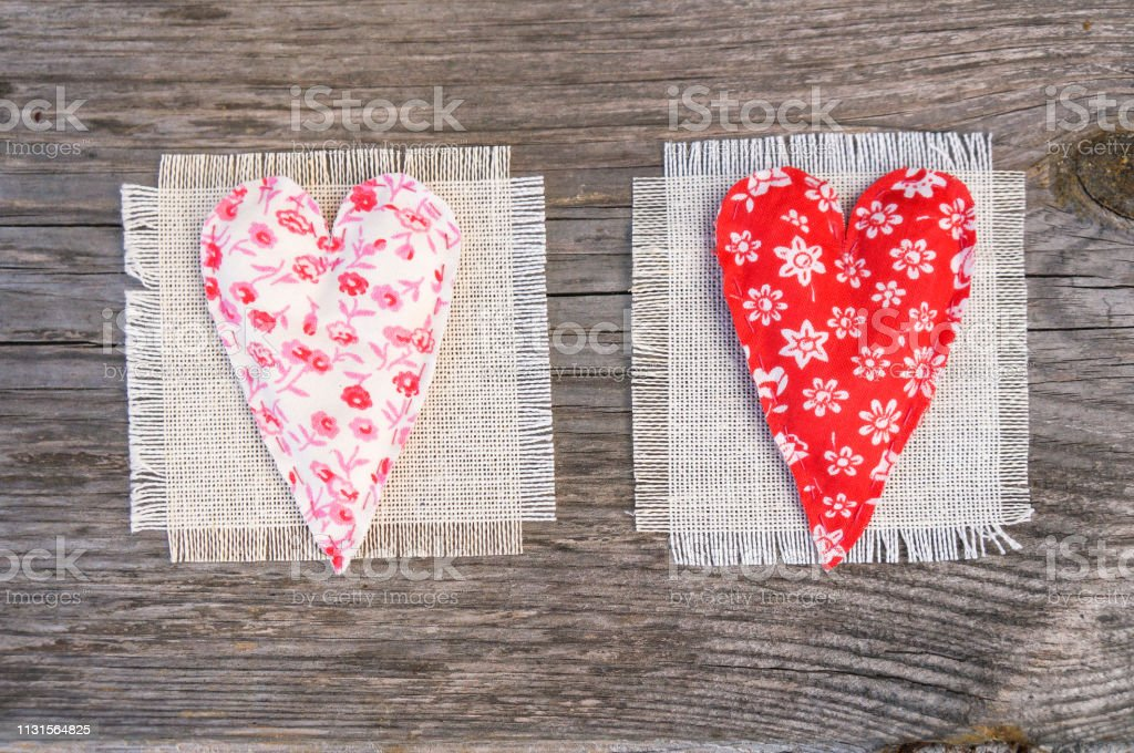 Handmade Fabric Hearts On A Rural Background Valentines Day Stock Photo Download Image Now Istock