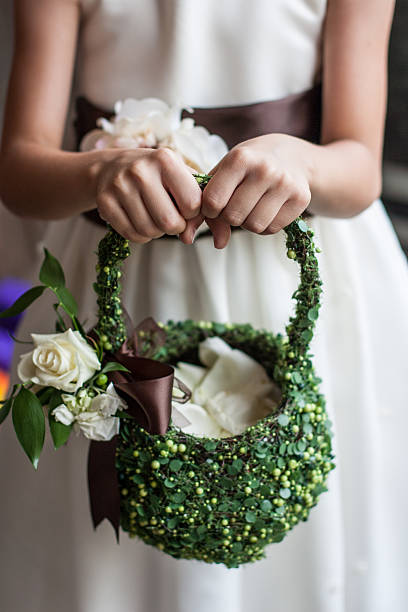 Handmade Flowergirl Basket stock photo