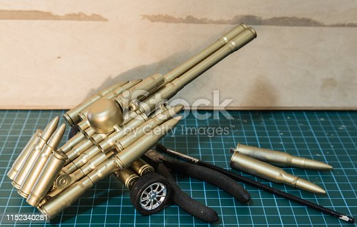 handmade bullet shell toy display on table