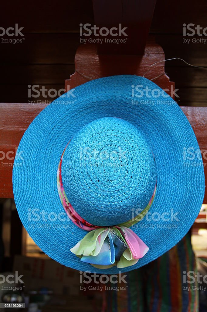 Handmade hat made from grass stock photo