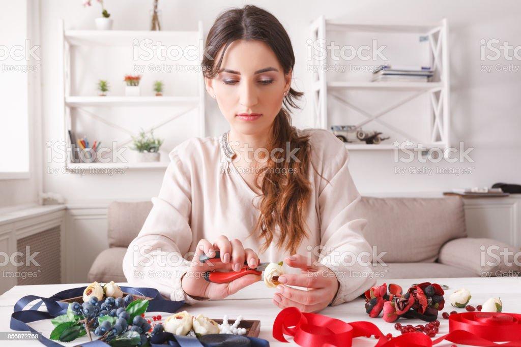 Handmade headbands making, home workshop stock photo