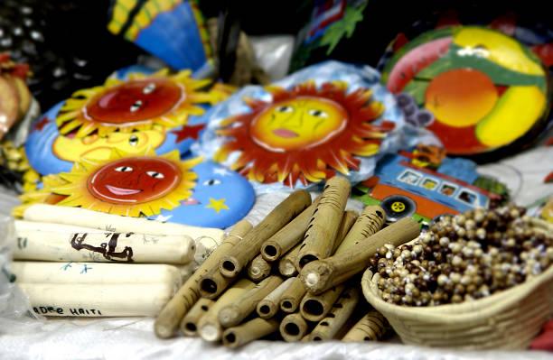 Handmade items at market stock photo