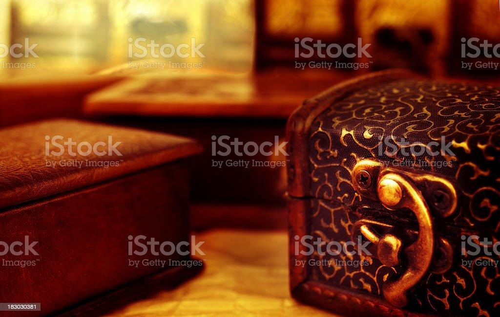 Handmade jewelry box set-up stock photo