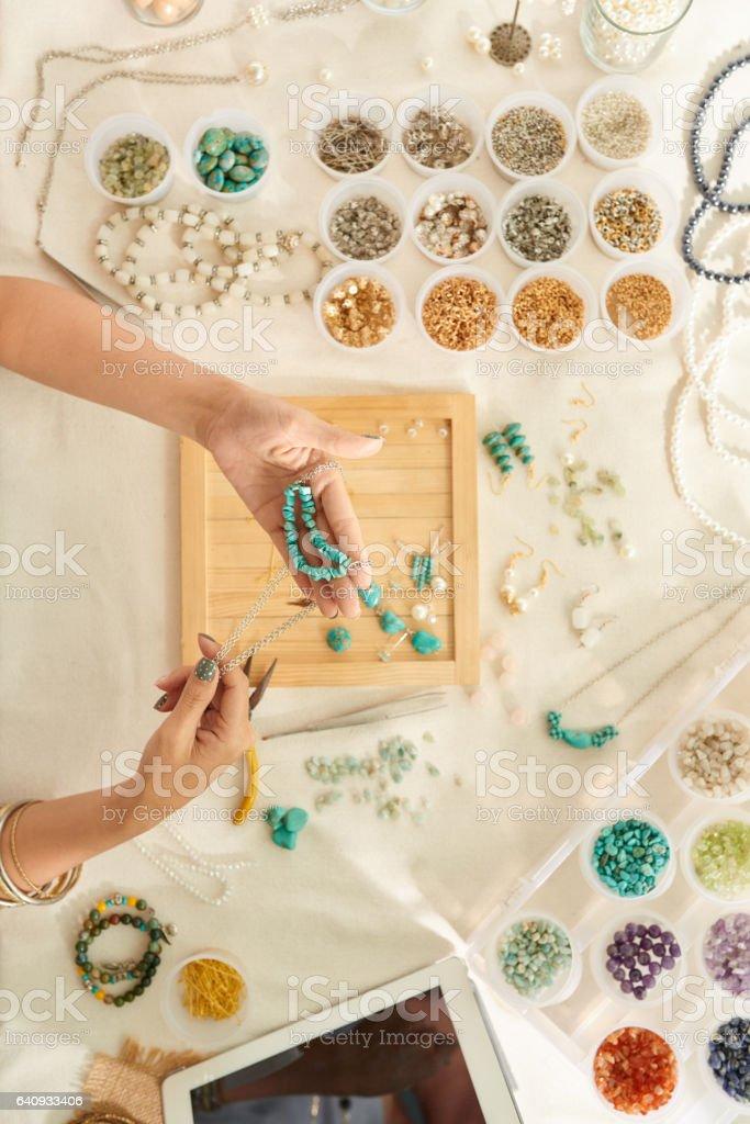 Handmade jewelry stock photo
