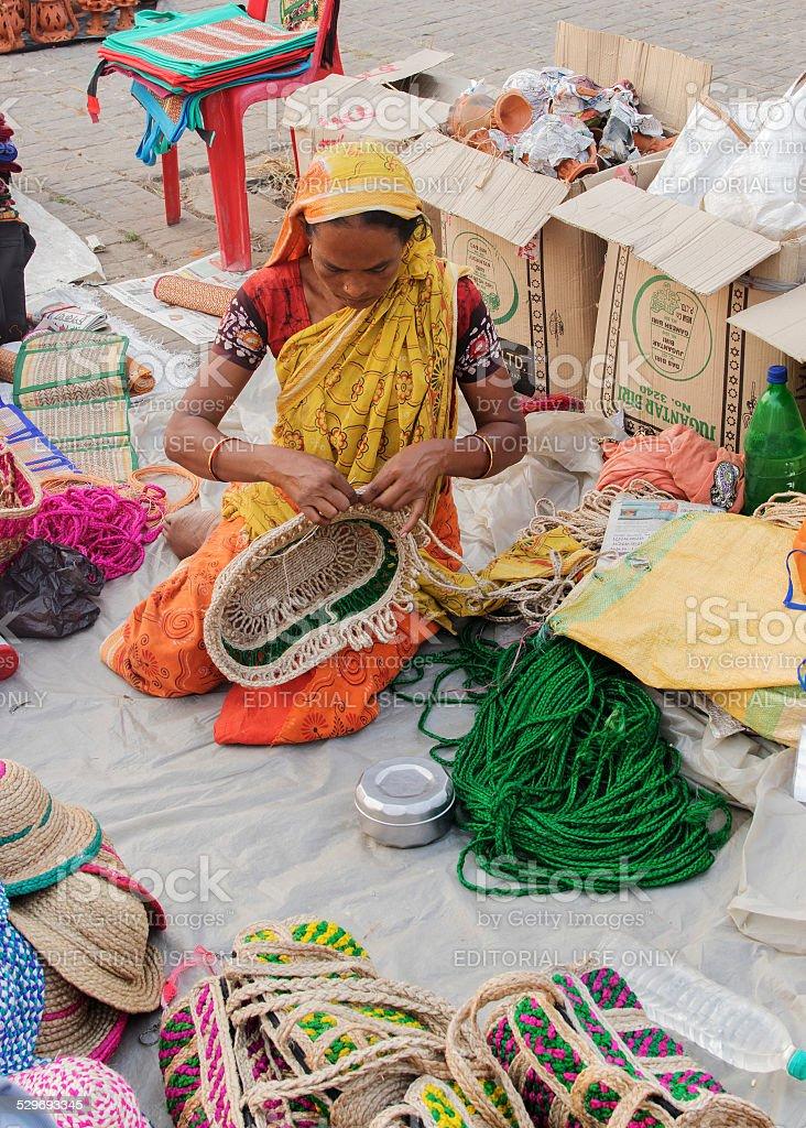 Handmade Jute Bags Indian Handicrafts Fair At Kolkata Stock Photo