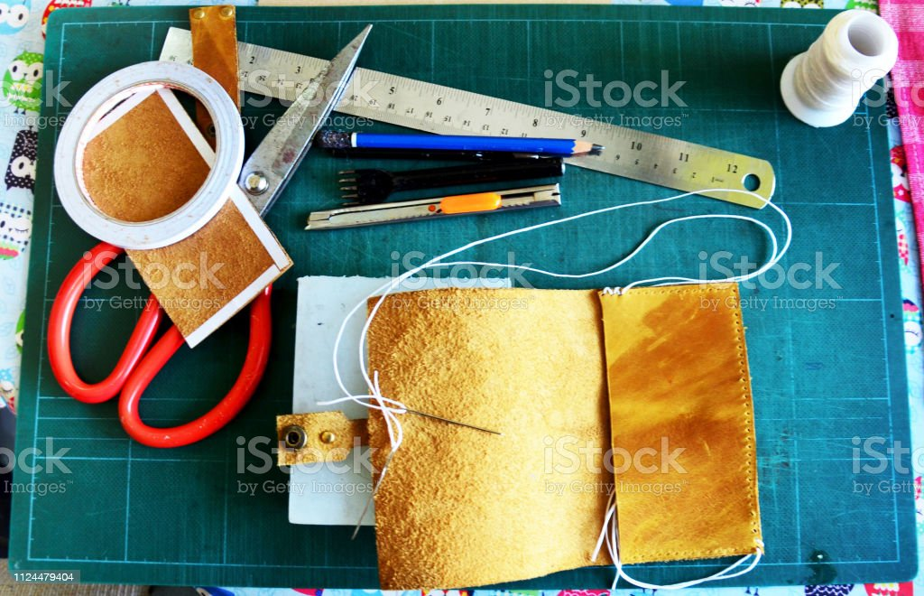 DIY handmade leather craft tools and equipment for made handcrafted genuine leather handmade leather local thai style at home workshop stock photo