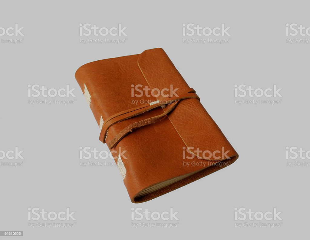 handmade leather journal stock photo