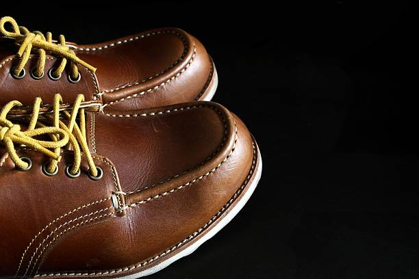 Handmade leather shoes stock photo