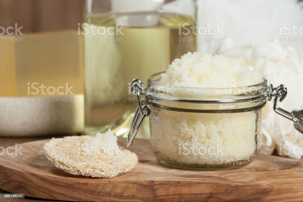 Handmade Lemon Scrub With Coconut Oil. Toiletries, Spa Set. stock photo