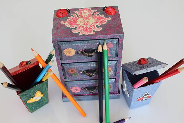 handmade mini chest - decoupage kunst stock-fotos und bilder