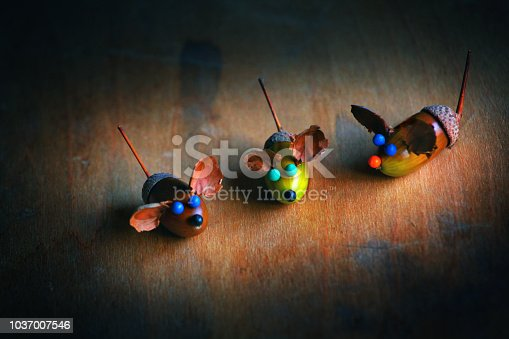 istock Handmade mouse acorn table 1037007546