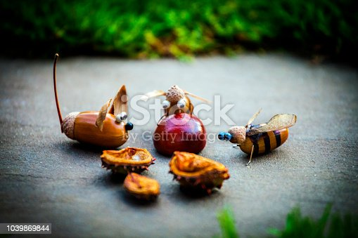 istock Handmade mouse bee acorn forest chestnut 1039869844